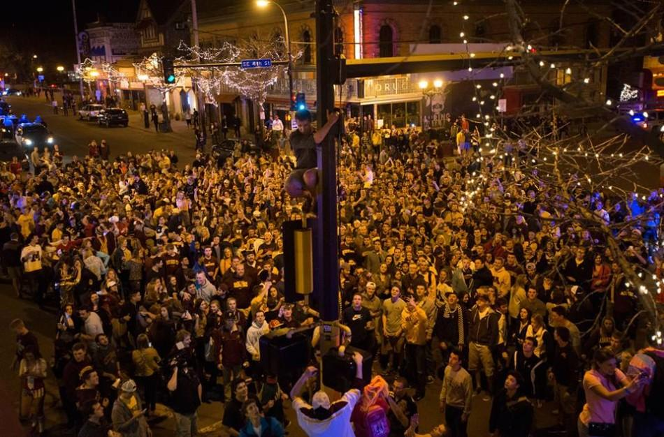 Riots that occurred in Dinkytown quickly became dangerous.