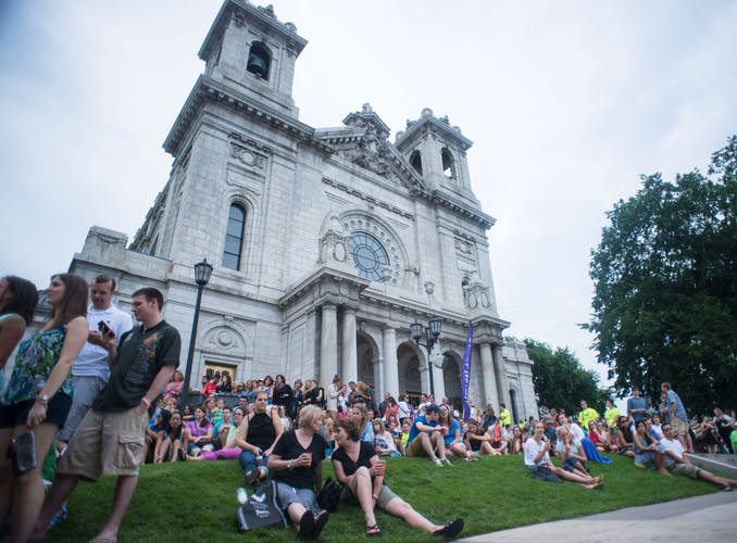 The Basilica Block Party occurs each summer around The Basilica of Saint Mary.