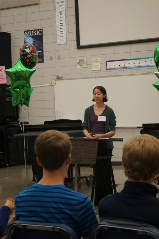 Eleanor Glewwe visited Edina High School to promote her new book Sparkers.