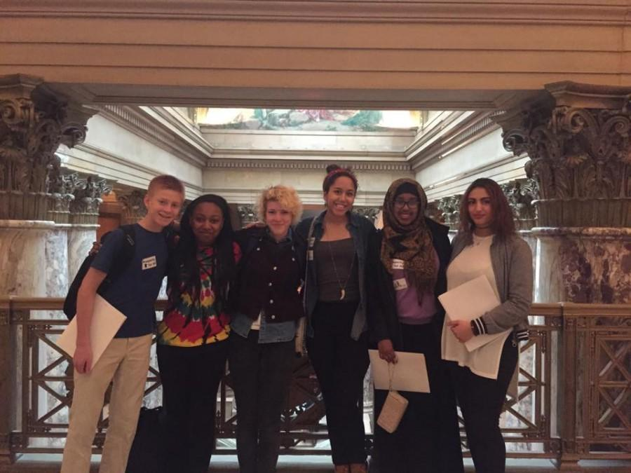 Pictured from left to right: Zach Zamoff, Breanna Nelson, Mar Horns, Nnamdi Andersen, Nimeo Dolal, Sahra Sabri