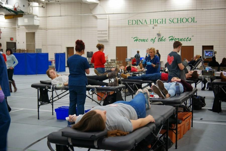 Students gave blood in the field house.