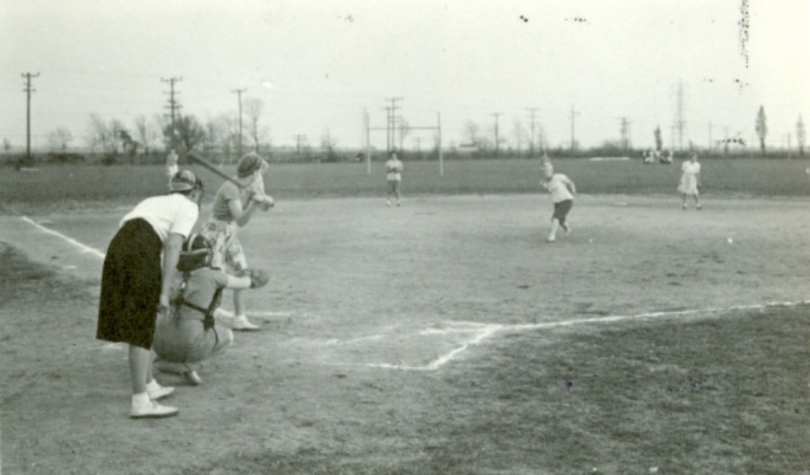 The first inaugural staff vs. students softball game in 1914