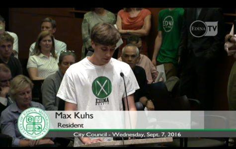 Senior, Max Kuhs at city council meeting