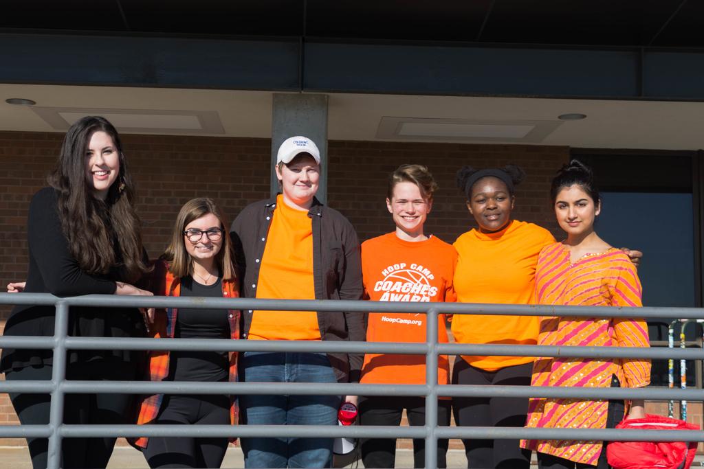 From left to right, walkout organizers Lily Goldaris, Sally Carlson, Max North, Anna Lampron, Jhamese Harvey, and Saumya Mangalick.