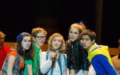 From left to right, junior Lily Randall, junior Joey Deegan, senior Emily Rice-Slothower, junior Carmen Wesselman, and junior Cris Sanchez-Carrera in EHSs spring production of Heathers: the Musical.