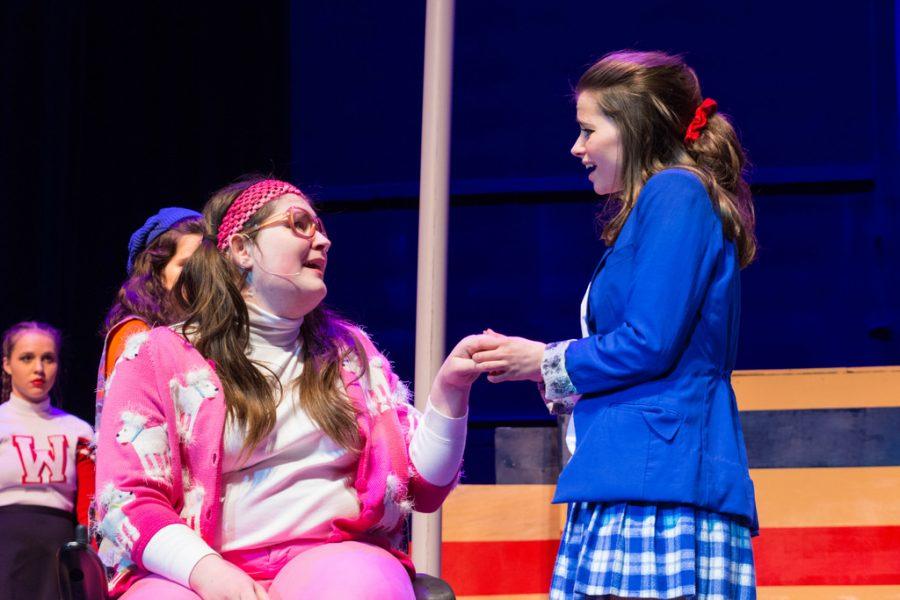 Junior Erin Deegan (left) and junior Ella Dolynchuk (right) in EHS's spring production of
