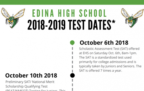 Edina High School's test dates 2018-2019