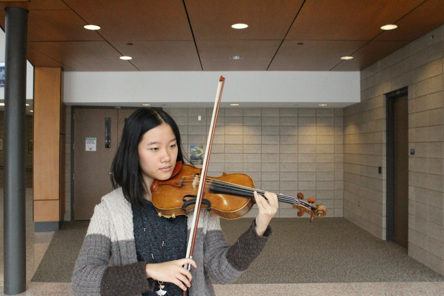 Life-long musician: Zhao has been playing the violin since she was five years old.