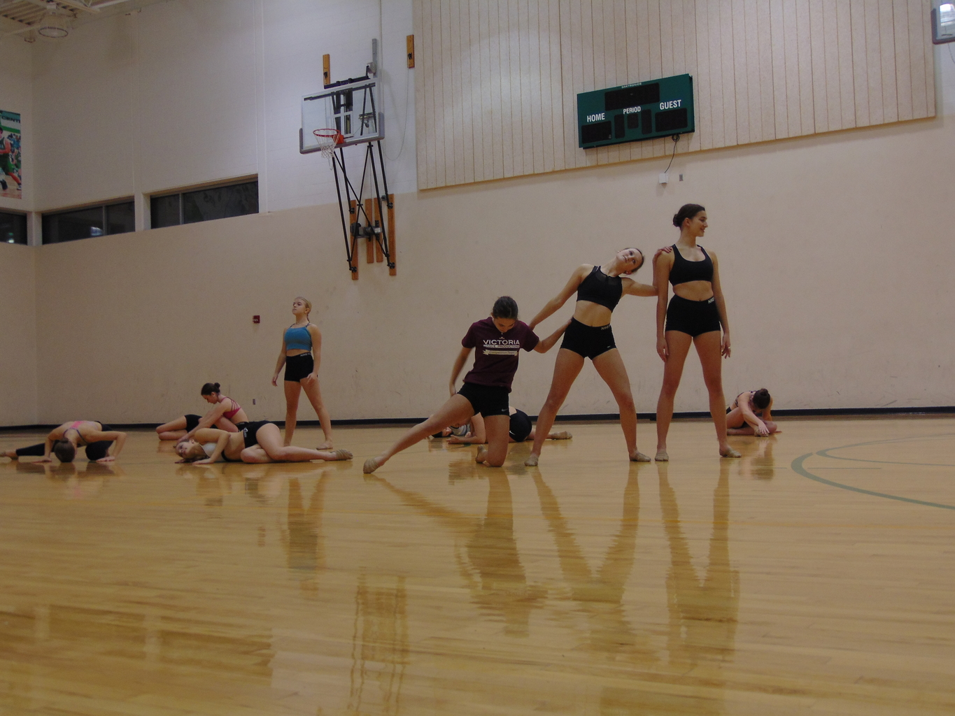 Springing with spirit: The dance team prepares for a new season.