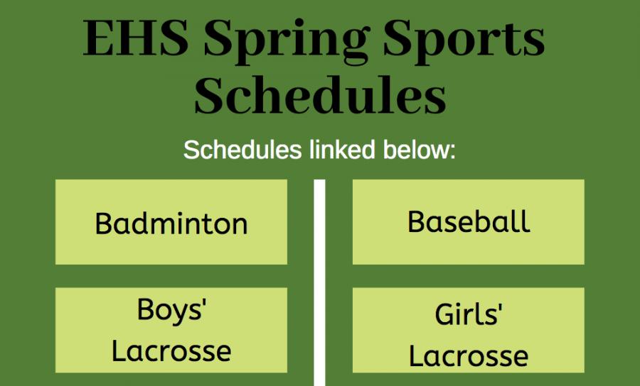 EHS spring sports schedules