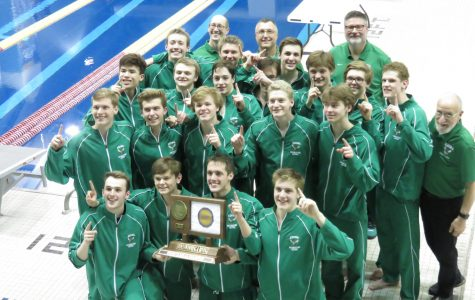 Boys' Swim and Dive win State despite midseason injury plague