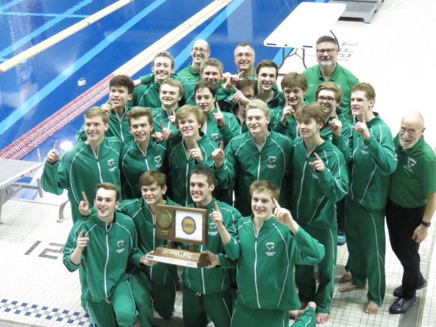 Boys' Swim and Dive win State despite midseason injury plague