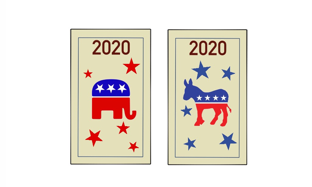 Democratic and Republican presidential candidates face off in the upcoming 2020 election.