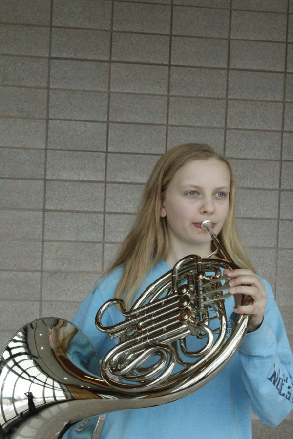 Sophomore takes on advanced French horn solos
