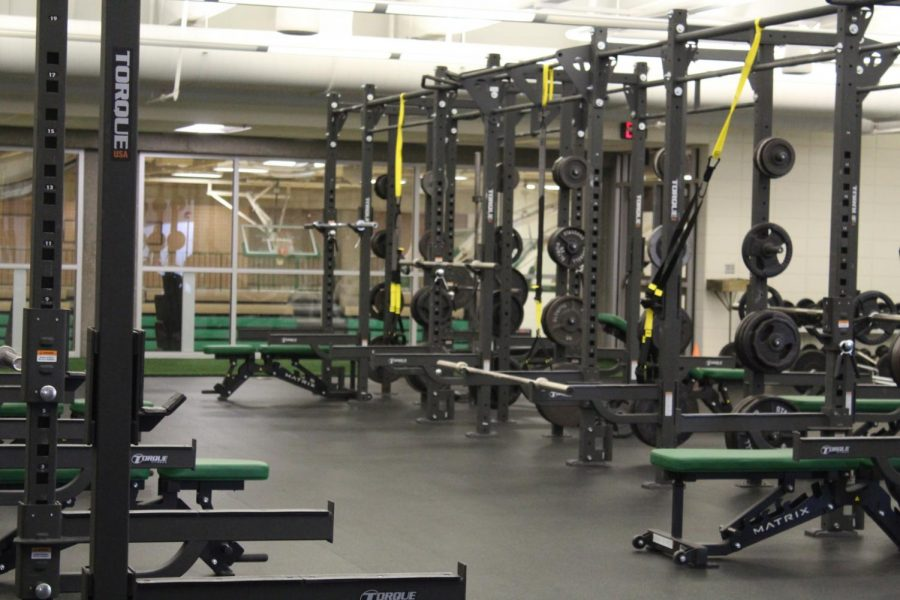 The school weight room is filled with plentiful choices of athletic equipment.