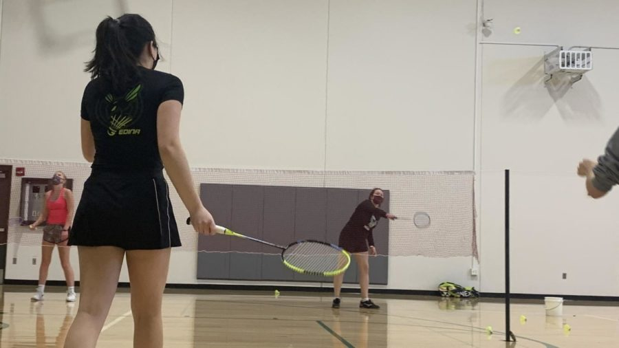 Rackets up: The Girls' Badminton team practices in the North Gym, in preparation for their weekly matches